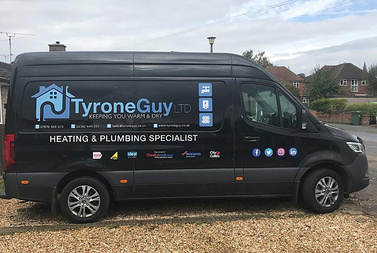 Contact Tyrone Guy Ltd Heating and Plumbing Company Van